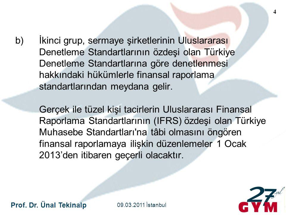 İkinci grup, sermaye şirketlerinin Uluslararası Denetleme Standartlarının özdeşi olan Türkiye Denetleme Standartlarına göre denetlenmesi hakkındaki hükümlerle finansal raporlama standartlarından meydana gelir. Gerçek ile tüzel kişi tacirlerin Uluslararası Finansal Raporlama Standartlarının (IFRS) özdeşi olan Türkiye Muhasebe Standartları na tâbi olmasını öngören finansal raporlamaya ilişkin düzenlemeler 1 Ocak 2013'den itibaren geçerli olacaktır.