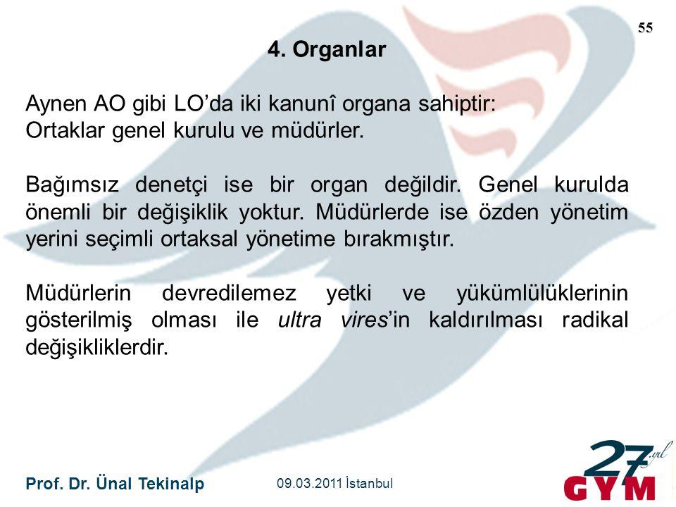 Aynen AO gibi LO'da iki kanunî organa sahiptir: