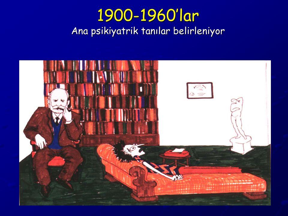1900-1960'lar Ana psikiyatrik tanılar belirleniyor