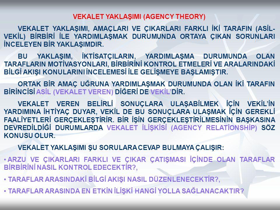 VEKALET YAKLAŞIMI (AGENCY THEORY)