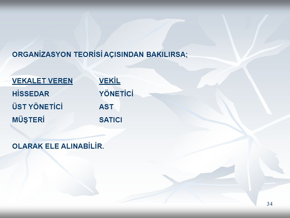 ORGANİZASYON TEORİSİ AÇISINDAN BAKILIRSA;