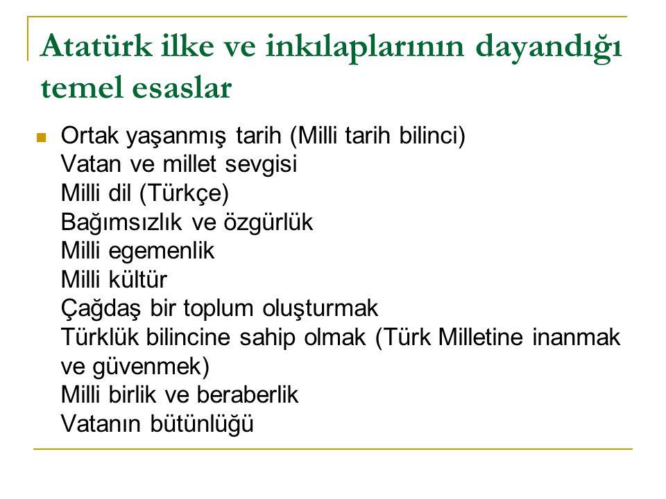 Atatürk ilke ve inkılaplarının dayandığı temel esaslar