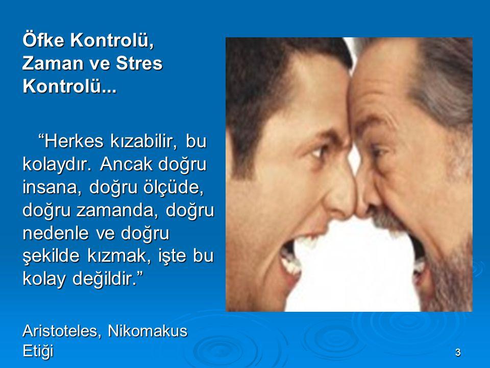 Öfke Kontrolü, Zaman ve Stres Kontrolü...