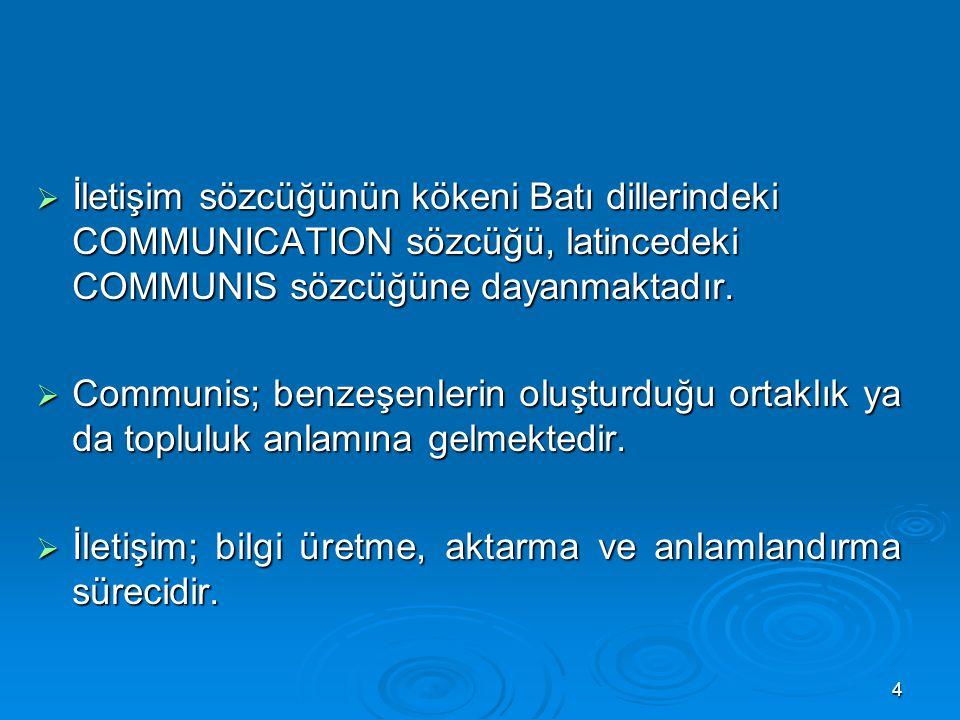 İletişim sözcüğünün kökeni Batı dillerindeki COMMUNICATION sözcüğü, latincedeki COMMUNIS sözcüğüne dayanmaktadır.