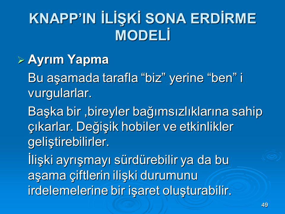 KNAPP'IN İLİŞKİ SONA ERDİRME MODELİ