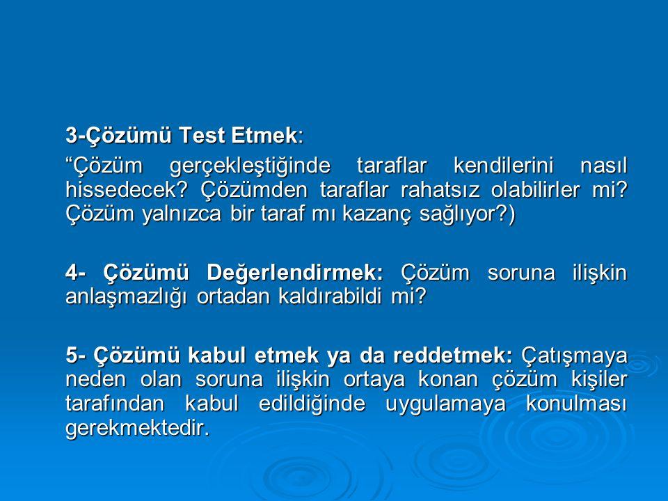 3-Çözümü Test Etmek: