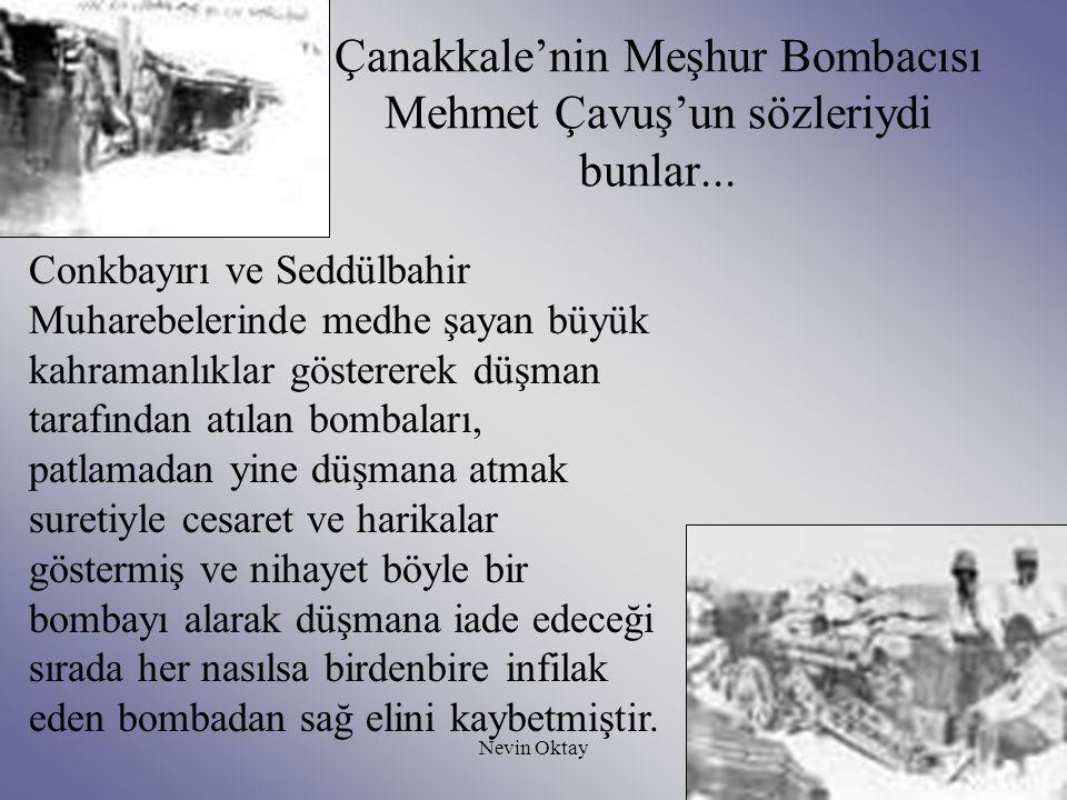 Çanakkale'nin Meşhur Bombacısı Mehmet Çavuş'un sözleriydi bunlar...
