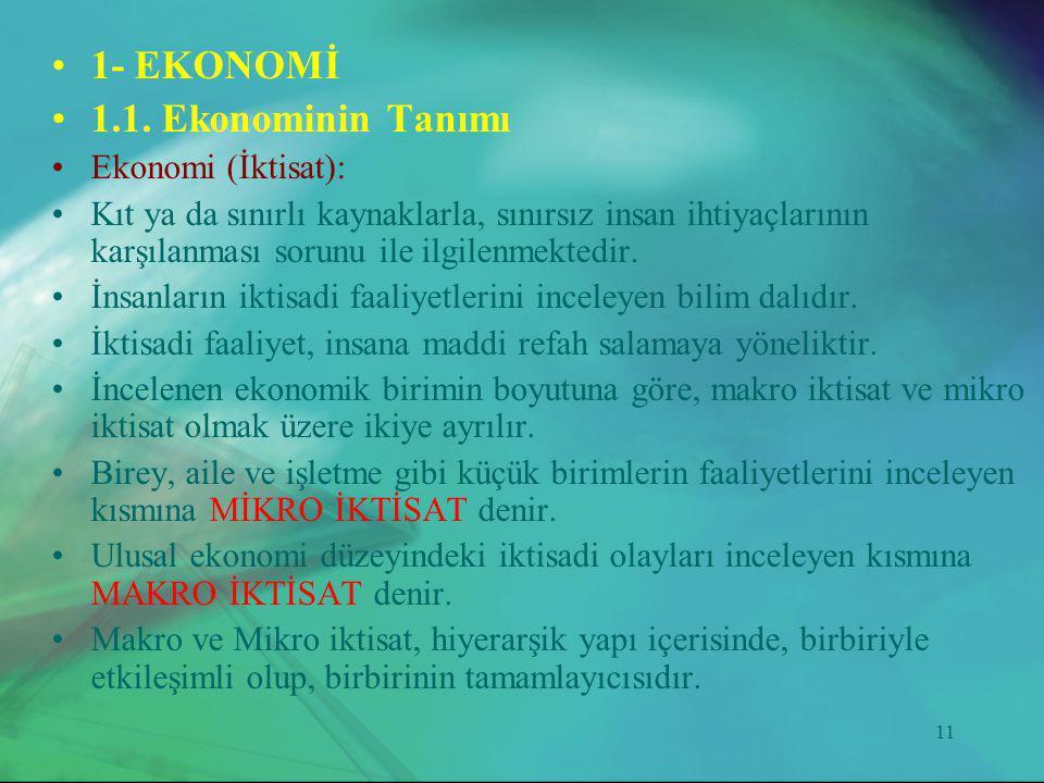 1- EKONOMİ 1.1. Ekonominin Tanımı Ekonomi (İktisat):
