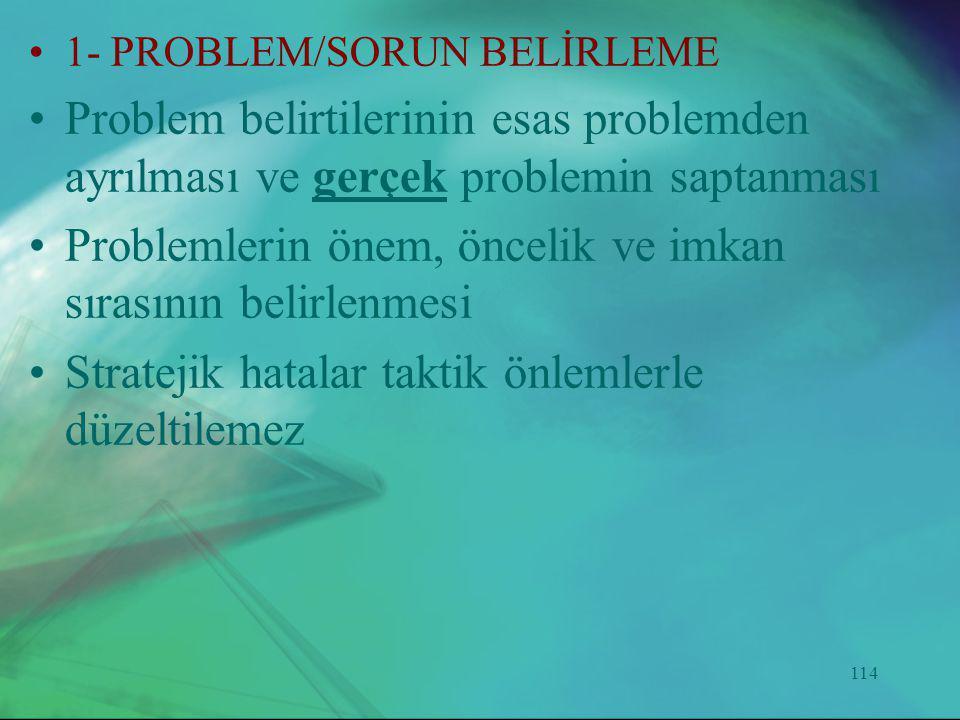 Problemlerin önem, öncelik ve imkan sırasının belirlenmesi