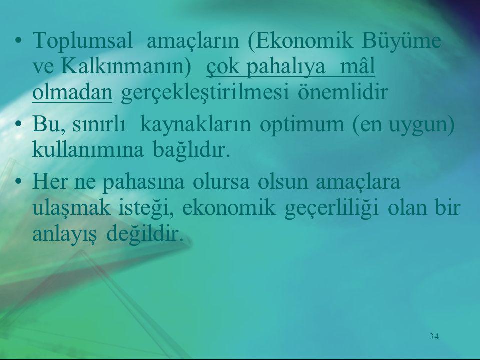 Toplumsal amaçların (Ekonomik Büyüme ve Kalkınmanın) çok pahalıya mâl olmadan gerçekleştirilmesi önemlidir