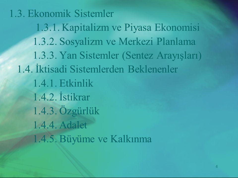 1.3. Ekonomik Sistemler 1.3.1. Kapitalizm ve Piyasa Ekonomisi. 1.3.2. Sosyalizm ve Merkezi Planlama.