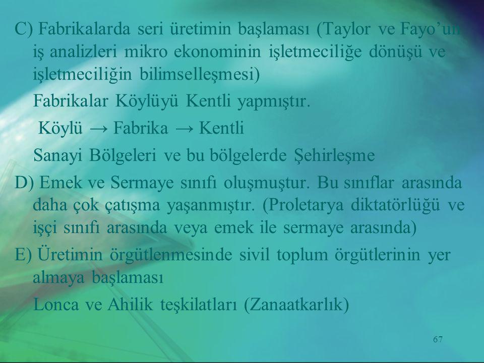 C) Fabrikalarda seri üretimin başlaması (Taylor ve Fayo'un iş analizleri mikro ekonominin işletmeciliğe dönüşü ve işletmeciliğin bilimselleşmesi)