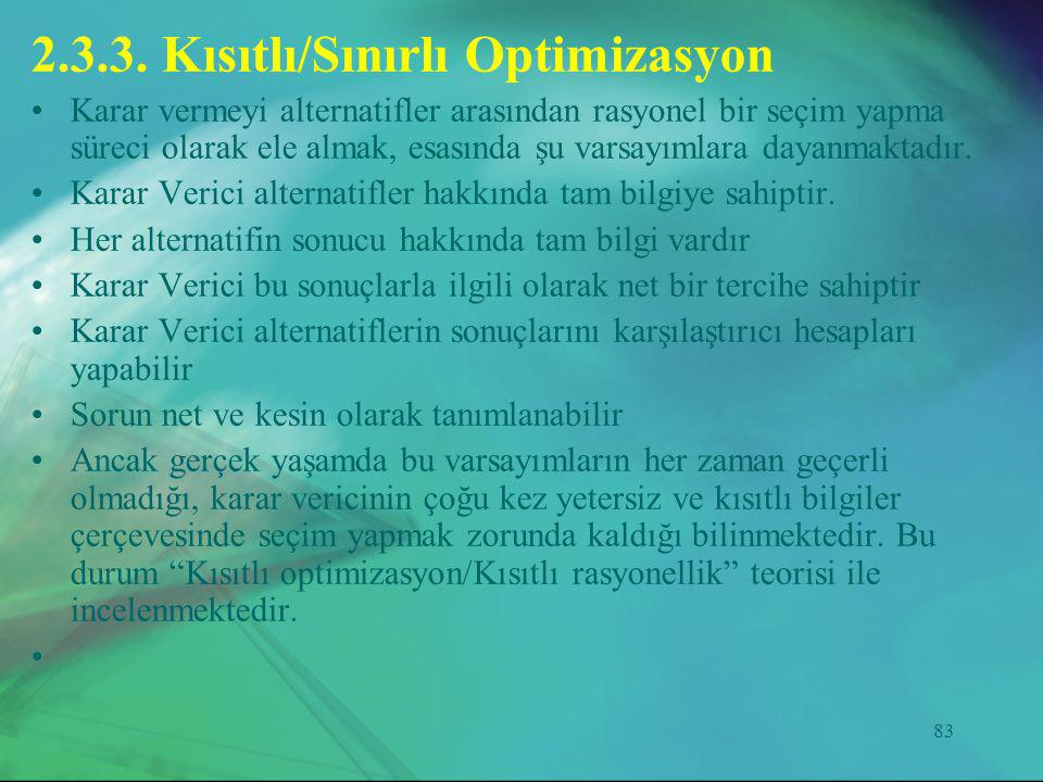 2.3.3. Kısıtlı/Sınırlı Optimizasyon