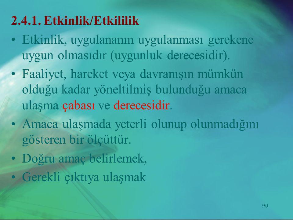 2.4.1. Etkinlik/Etkililik Etkinlik, uygulananın uygulanması gerekene uygun olmasıdır (uygunluk derecesidir).