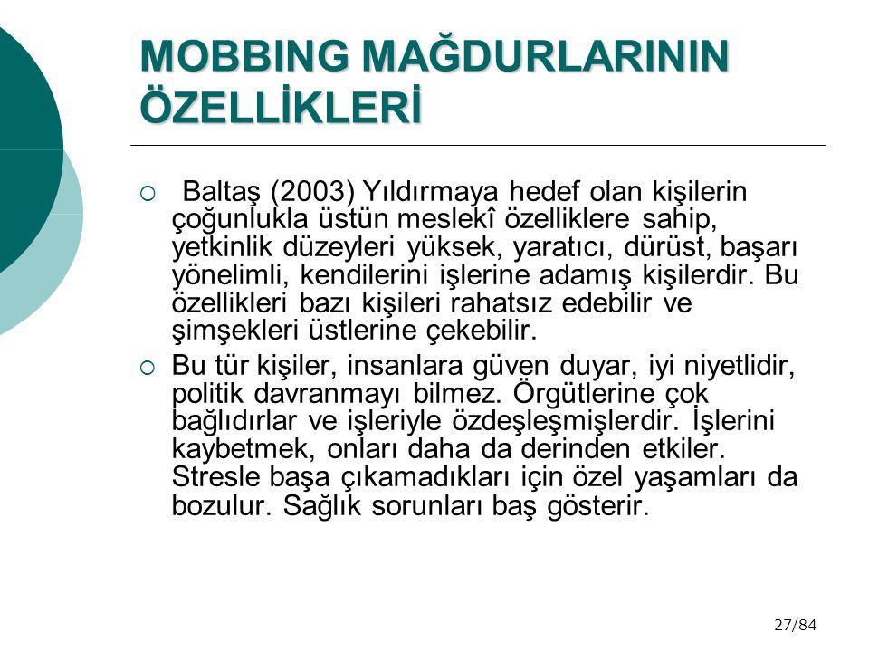 MOBBING MAĞDURLARININ ÖZELLİKLERİ