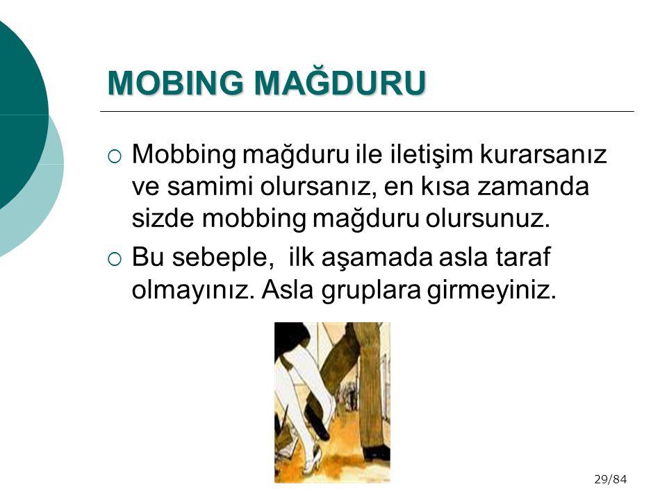 MOBING MAĞDURU Mobbing mağduru ile iletişim kurarsanız ve samimi olursanız, en kısa zamanda sizde mobbing mağduru olursunuz.