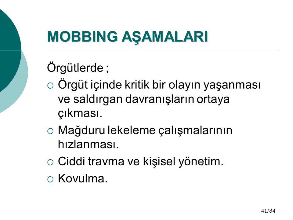 MOBBING AŞAMALARI Örgütlerde ;