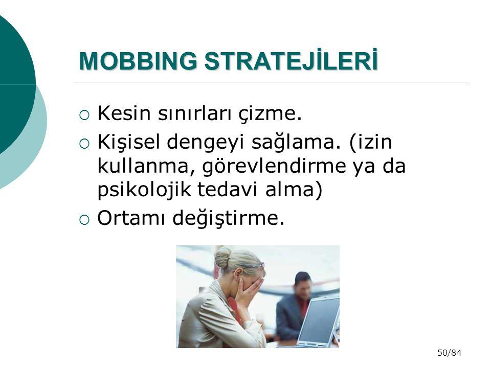 MOBBING STRATEJİLERİ Kesin sınırları çizme.