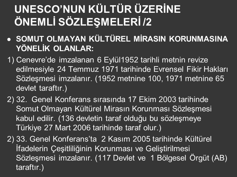 UNESCO'NUN KÜLTÜR ÜZERİNE ÖNEMLİ SÖZLEŞMELERİ /2