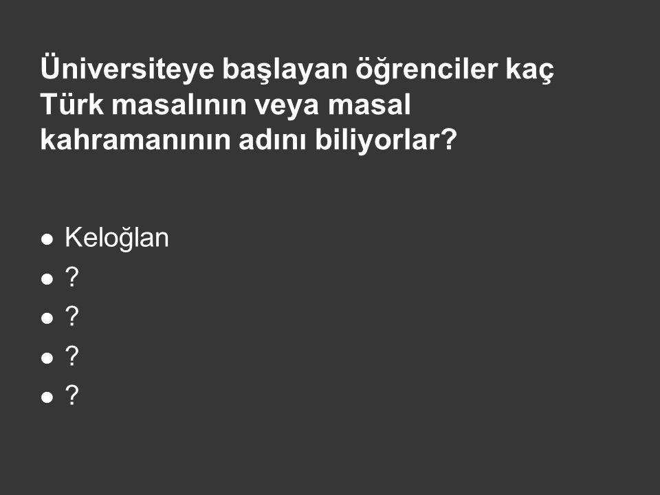 Üniversiteye başlayan öğrenciler kaç Türk masalının veya masal kahramanının adını biliyorlar