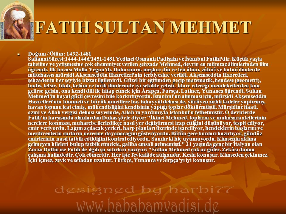FATIH SULTAN MEHMET designed by harbi77
