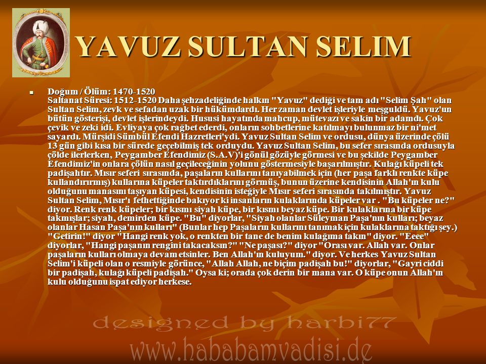 YAVUZ SULTAN SELIM designed by harbi77