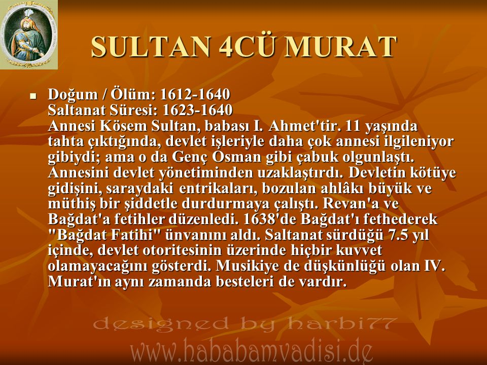 SULTAN 4CÜ MURAT designed by harbi77