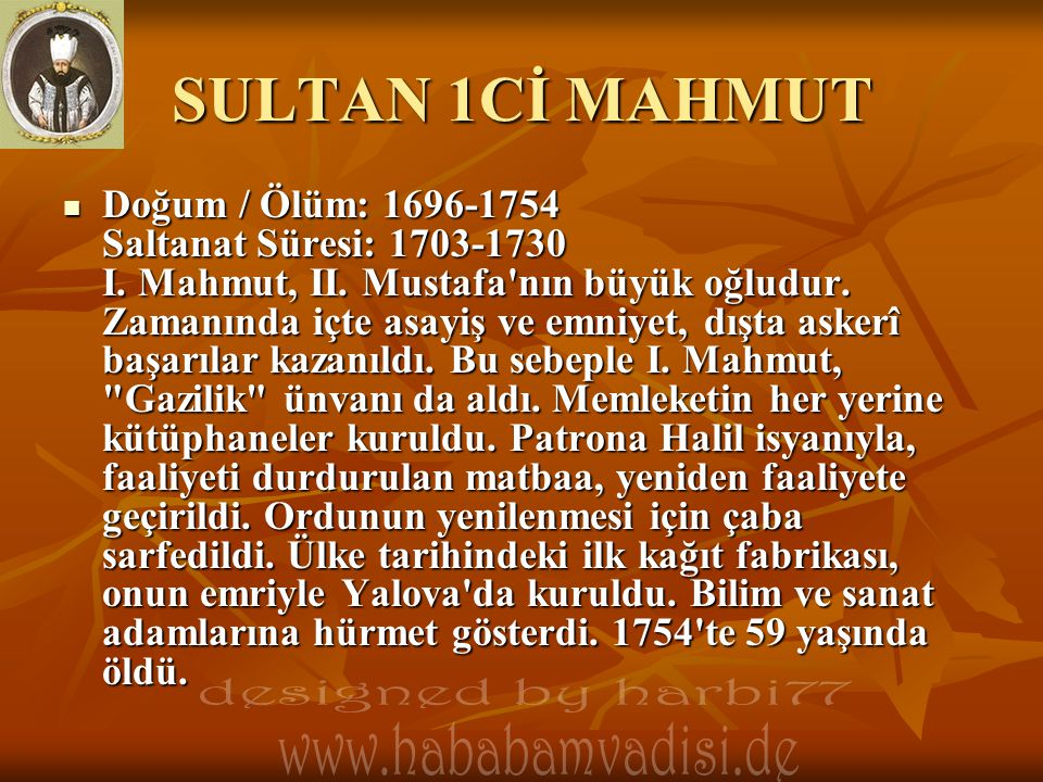 SULTAN 1Cİ MAHMUT designed by harbi77