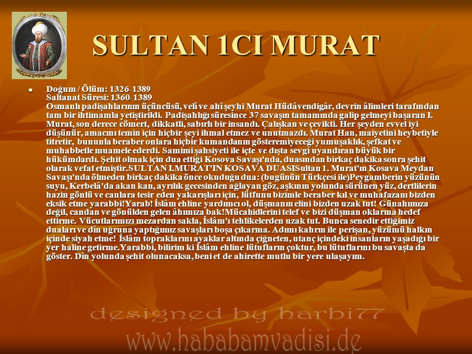SULTAN 1CI MURAT designed by harbi77