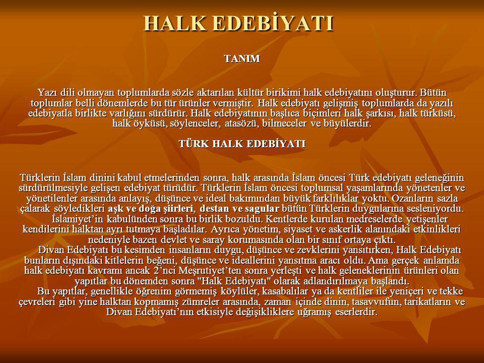 HALK EDEBİYATI TANIM.