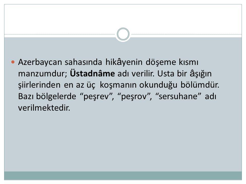 Azerbaycan sahasında hikâyenin döşeme kısmı manzumdur; Üstadnâme adı verilir.