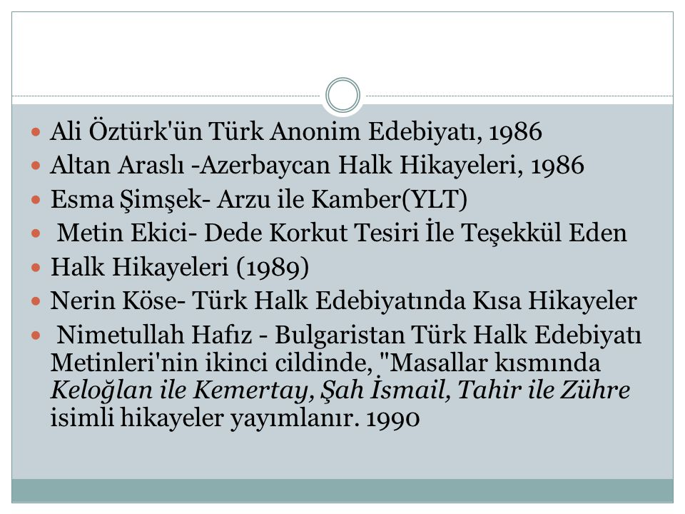 Ali Öztürk ün Türk Anonim Edebiyatı, 1986