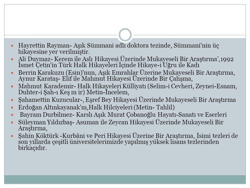 Hayrettin Rayman- Aşık Sümmani adlı doktora tezinde, Sümmani nin üç hikayesine yer verilmiştir.