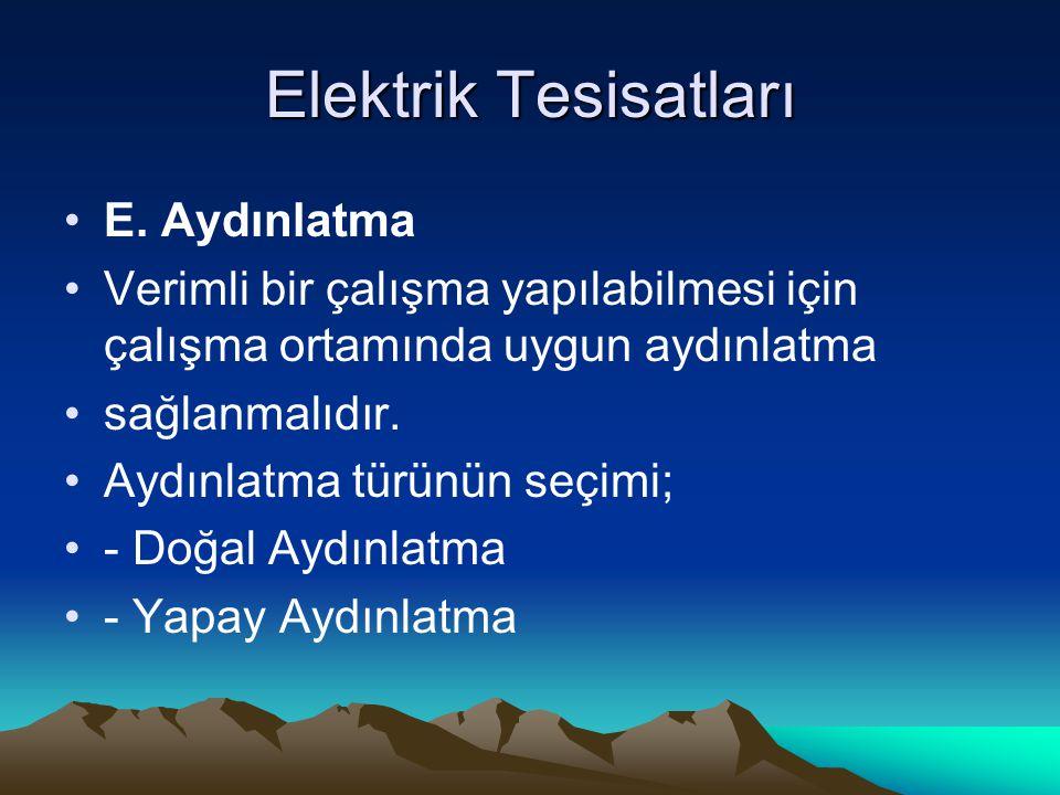 Elektrik Tesisatları E. Aydınlatma