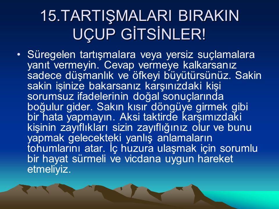 15.TARTIŞMALARI BIRAKIN UÇUP GİTSİNLER!
