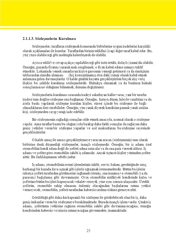2.1.1.3. Sözleşmelerin Kurulması