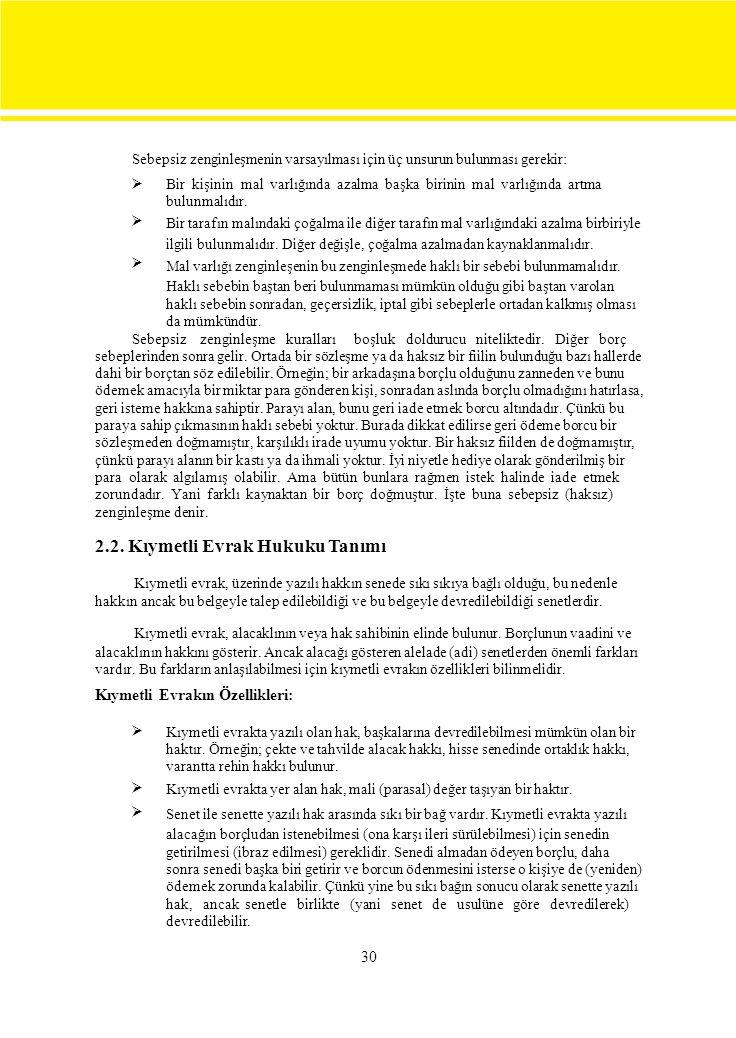 2.2. Kıymetli Evrak Hukuku Tanımı