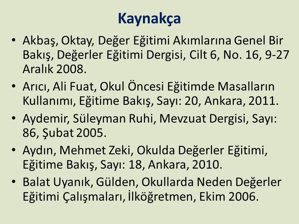 Kaynakça Akbaş, Oktay, Değer Eğitimi Akımlarına Genel Bir Bakış, Değerler Eğitimi Dergisi, Cilt 6, No. 16, 9-27 Aralık 2008.