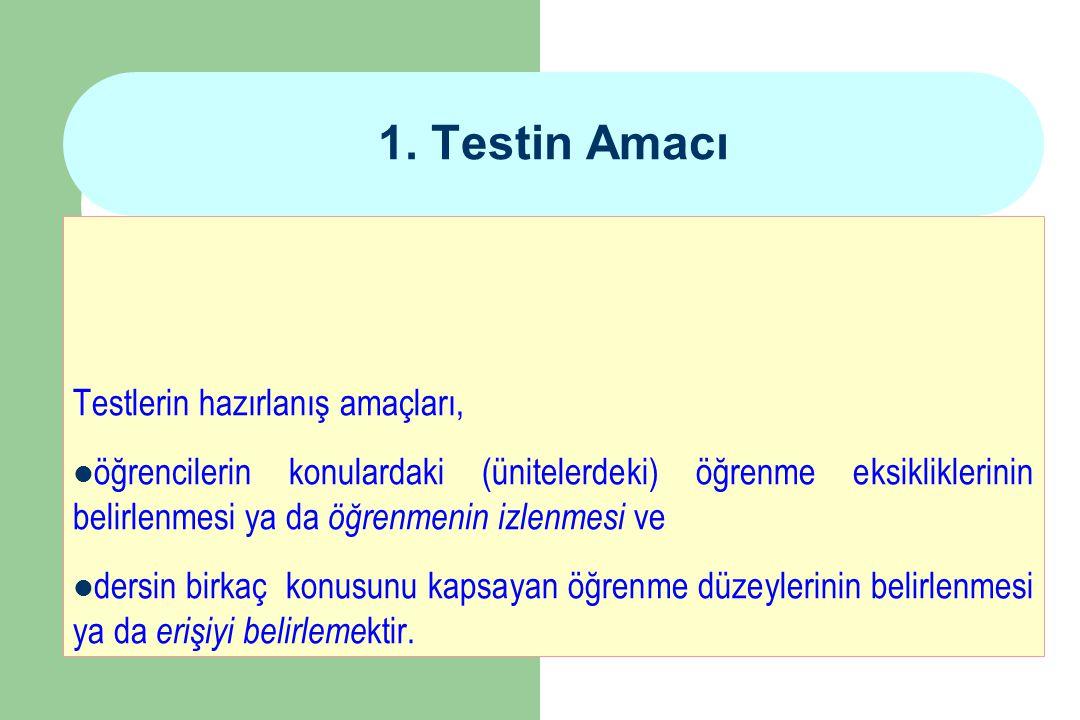 1. Testin Amacı Testlerin hazırlanış amaçları,
