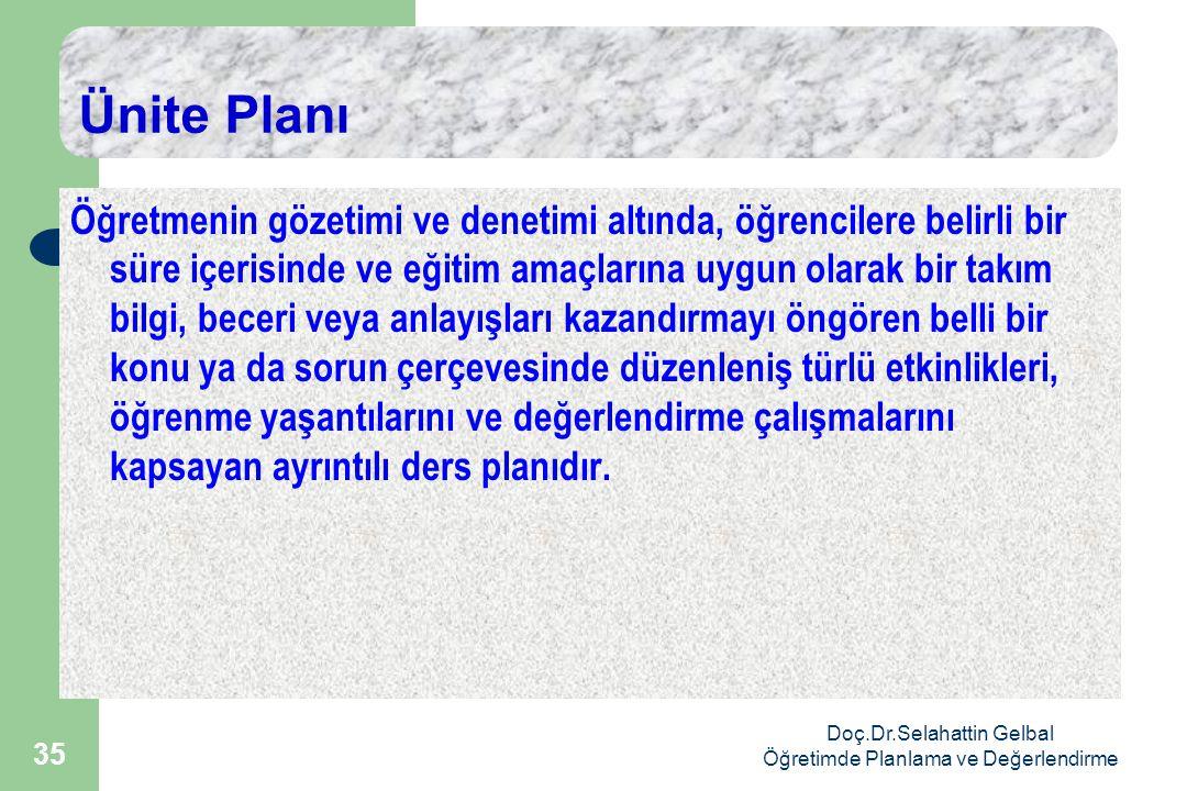 Doç.Dr.Selahattin Gelbal Öğretimde Planlama ve Değerlendirme