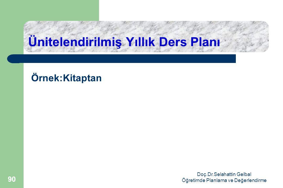 Ünitelendirilmiş Yıllık Ders Planı