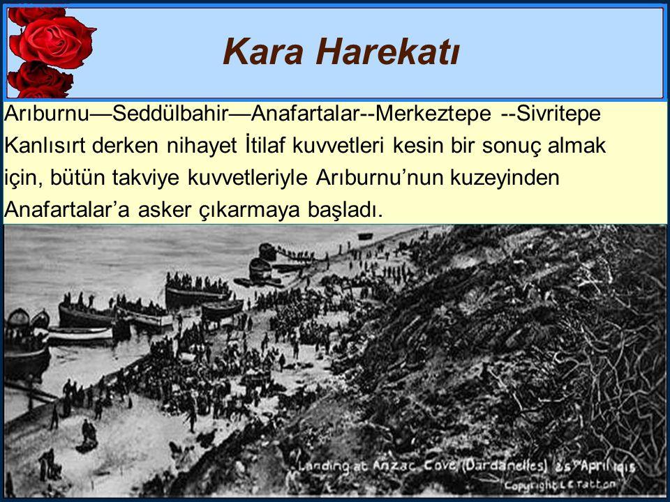 Kara Harekatı Arıburnu—Seddülbahir—Anafartalar--Merkeztepe --Sivritepe