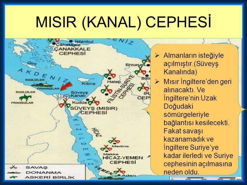 MISIR (KANAL) CEPHESİ Almanların isteğiyle açılmıştır.(Süveyş Kanalında)