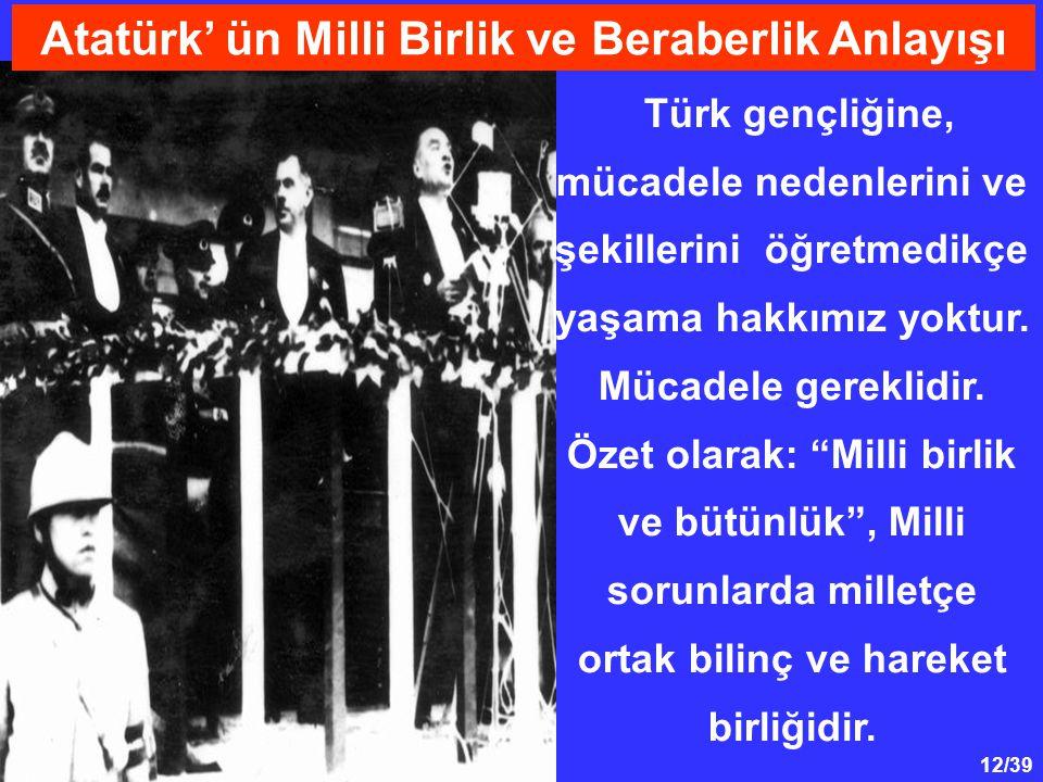 Atatürk' ün Milli Birlik ve Beraberlik Anlayışı