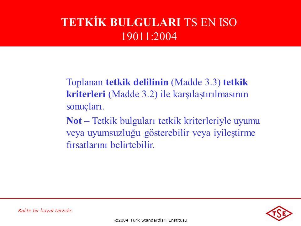 TETKİK BULGULARI TS EN ISO 19011:2004