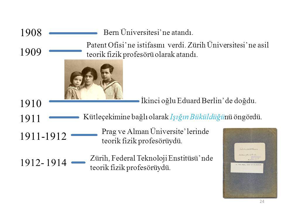 1908 1909 1910 1911 1911-1912 1912- 1914 Bern Üniversitesi' ne atandı.