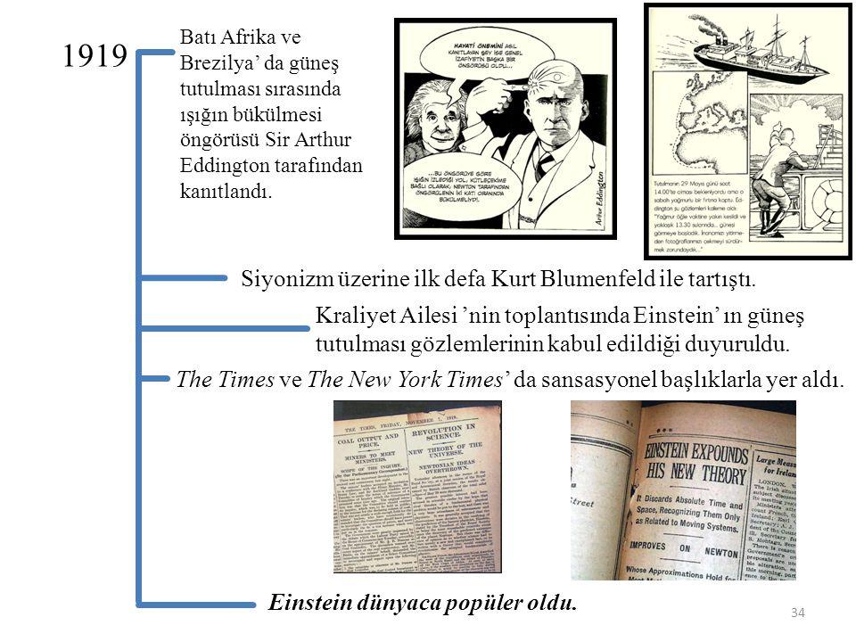 1919 Siyonizm üzerine ilk defa Kurt Blumenfeld ile tartıştı.