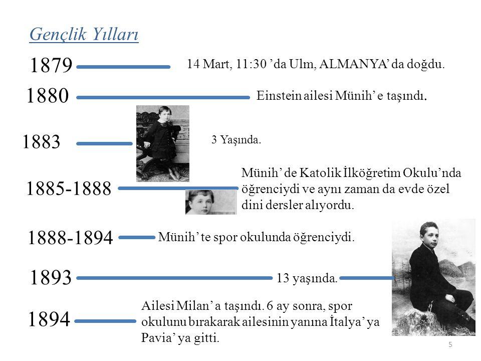 14 Mart, 11:30 'da Ulm, ALMANYA' da doğdu. 1879 1880