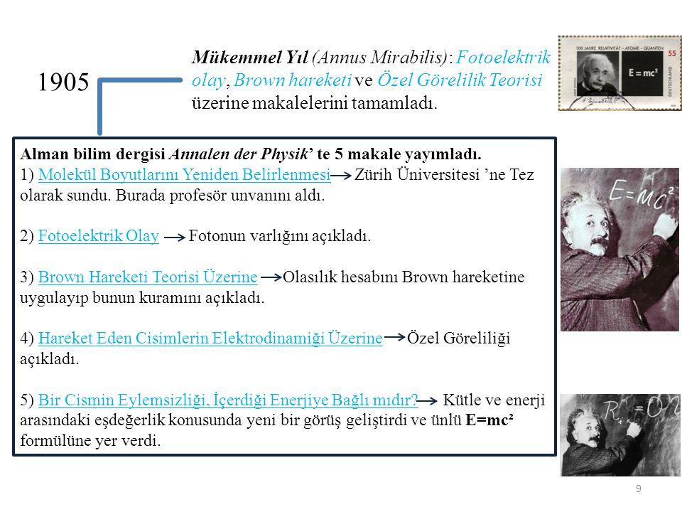 Mükemmel Yıl (Annus Mirabilis): Fotoelektrik olay, Brown hareketi ve Özel Görelilik Teorisi üzerine makalelerini tamamladı.