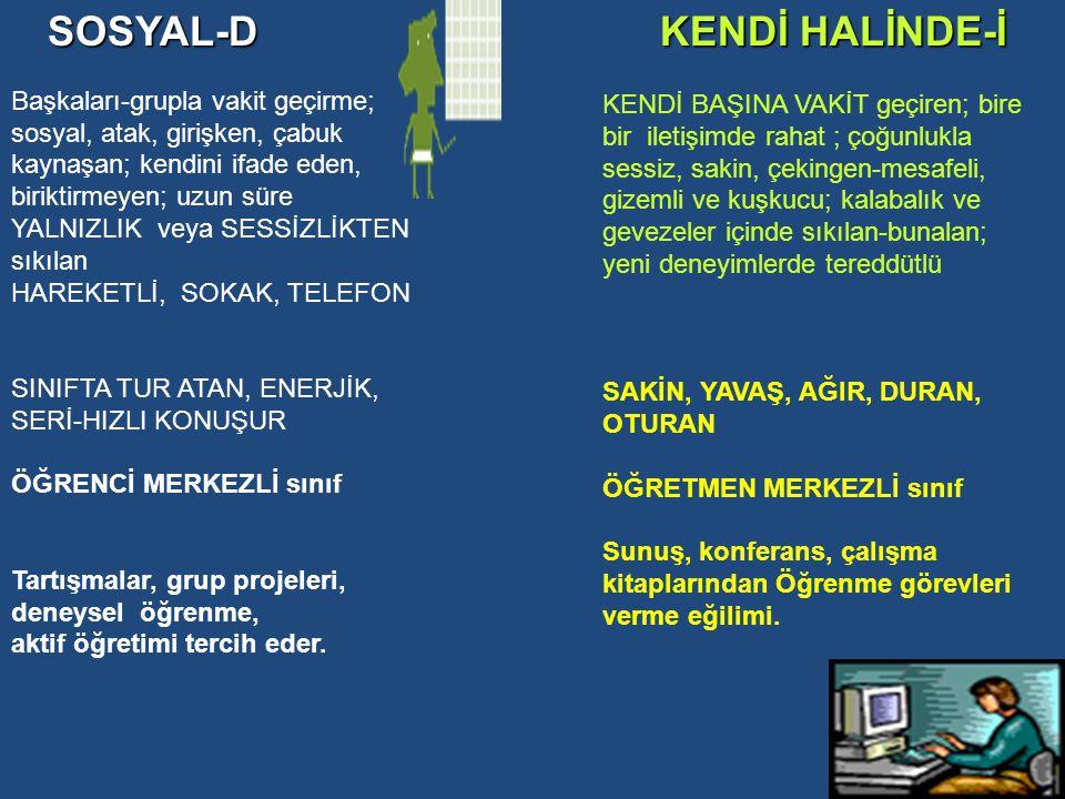 KENDİ HALİNDE-İ SOSYAL-D Başkaları-grupla vakit geçirme;